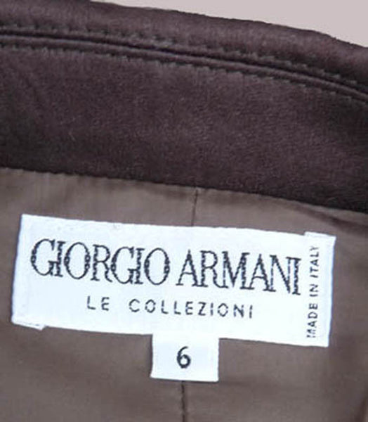 Giorgio Armani jacket Sz 6 Hershey brown Asymmetrical Button front