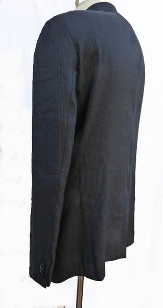 Giorgio Arman Linen blazer ink blue Sportcoat 46 R SB 2 button muted Ribbed Dimensional