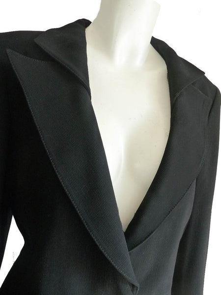 Giorgio Armani jacket Cropped Portrait collar neck dark navy Sz 12 Vintage 1980s Blazer Wool