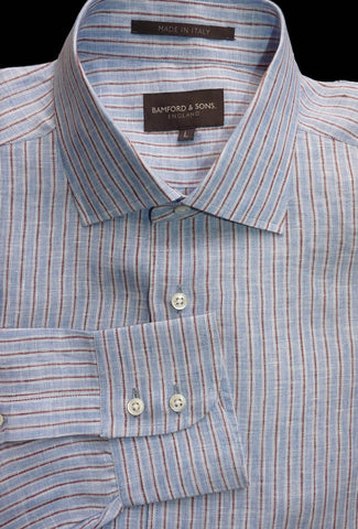 Bamford & Sons Shirt Flax Linen Long sleeve Size L Striped