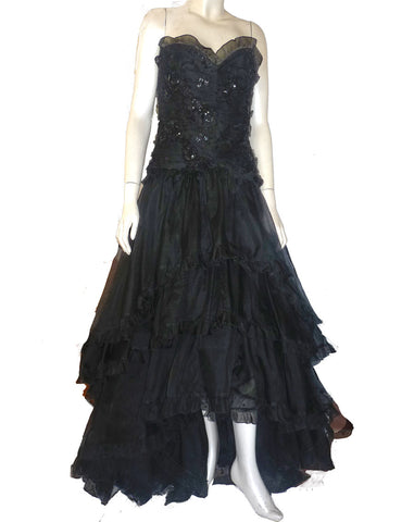 Bellville Sassoon Black Silk dress Strapless Sz 8 Saks Tier Ruffles Asymmetrical hem Ruffled tiers
