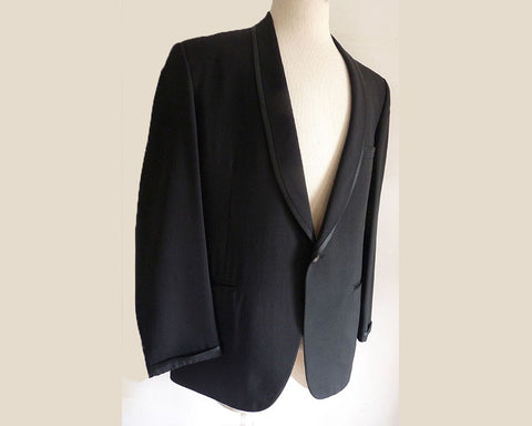 Bond Clothes Shawl Collar Tuxedo 42 Vintage 1949- 1968 Black Linen | Silk Partially lined  Executive Group