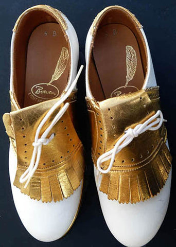 Bowen Gold White golf shoes Sz 5 B Vintage  Gold Tassels