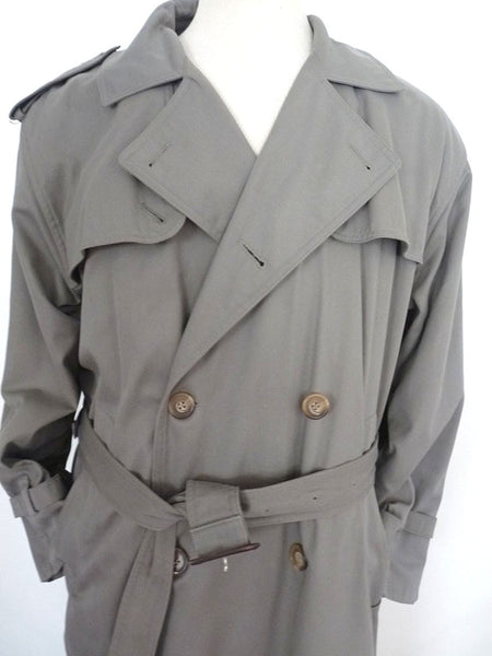 Sold Brooks Bros Trench Coat Sz 40 Reg Olive Gray DB Cotton w Removable Wool liner