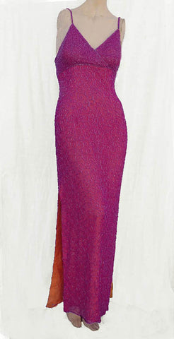 Cache beaded Gown Fuchsia SZ S Spaghetti straps Pink Prom Evening