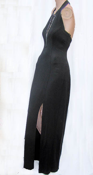 Cache Black Gown Halter Beaded Bib Sz S  Wiggle Stretch Bodycon Sexy