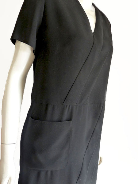 Chanel dress Cruise Boutique Black 1990s Sz 44 US 12 or 14  Short Sleeves Shift  Sheath