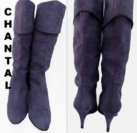 Chantal Boots Heels Blueberry Purple Vtg 80s suede Size 9 N Leather  Italy