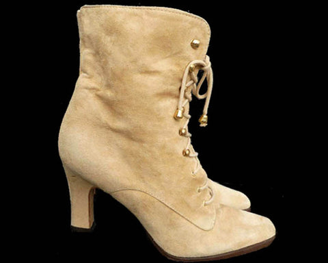 Chantal Ankle Boots Heels Sz 8 Vintage 80s  Handcrafted Granny Lace up Tan Fine Suede
