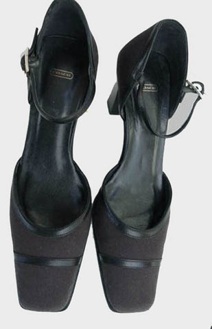 coach black leather ankle straps heels shoes 7.5