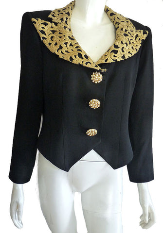 criscione cache black cropped jacket gold collar