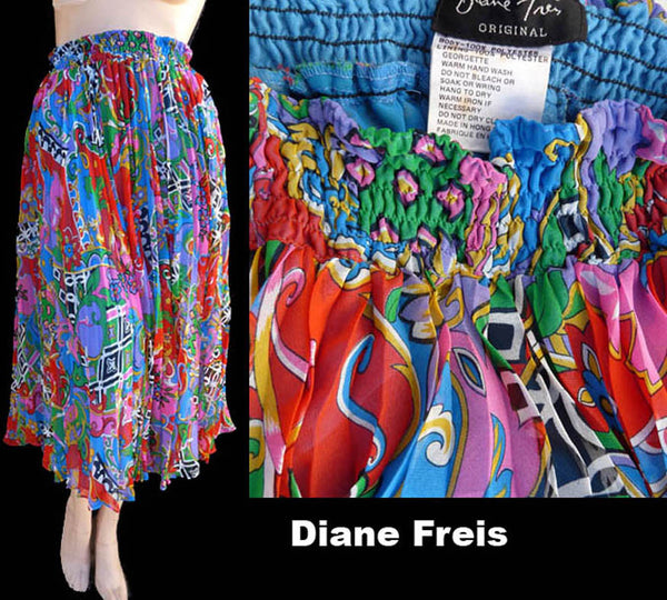 Pleated Skirt Accordian Diane Freis Abstract Bold Original M Georgette Vintage 1980s Boho