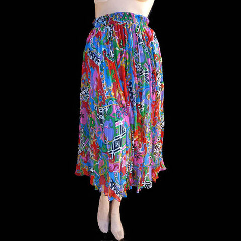 diane freis accordian pleated skirt Bold abstract