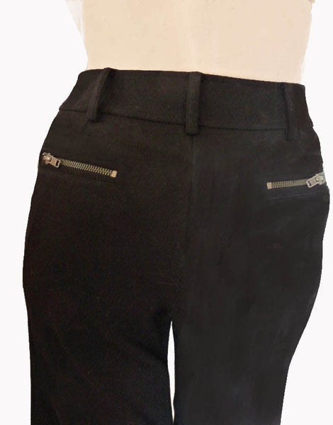 Diane von Furstenberg Black Pants Slacks Sz 4 Mid rise Rear gold zipper pockets wool