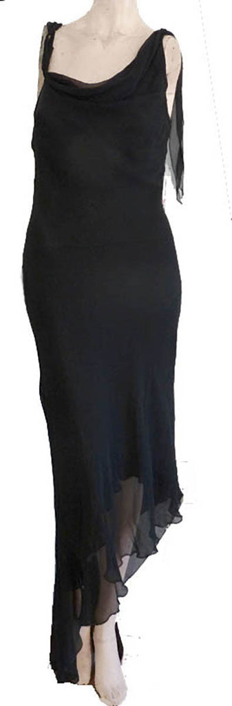 dina barel black dress one shoulder asymmetrical hem