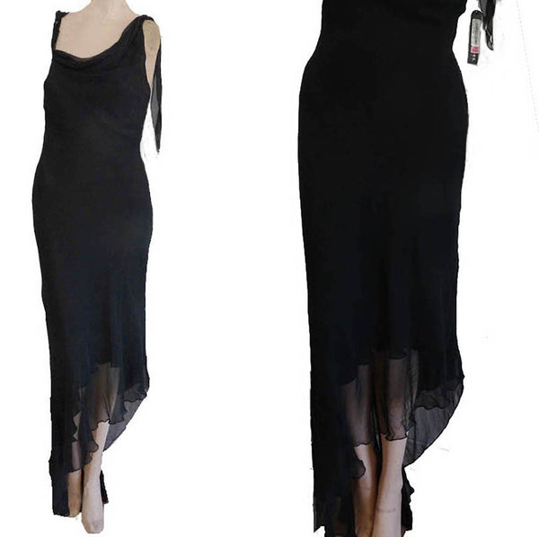 Silk gown one Shoulder Dress Gown Dina Bar-el Black Dress M straps NWT Asymmetrical hem
