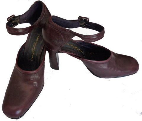 Donna Karan New York shoes 8 B  heels All leather Ankle straps Mary Jane Wine