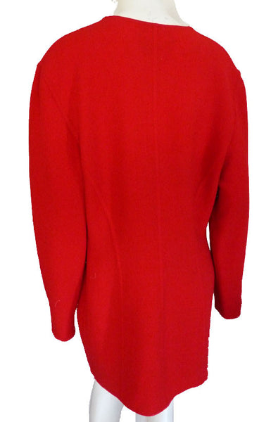 Donna Karan Jacket Deep Red wool Wrap Sz 12 Hand Tailored Open Front