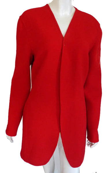 Donna Karan red wool wrap no button front