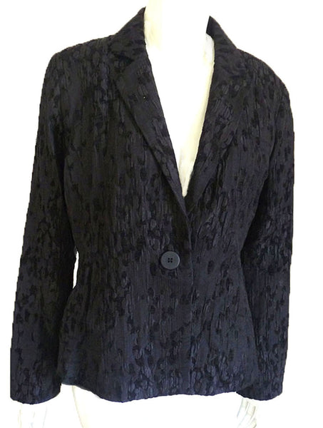 eileen fisher black chenille blend jacket sz S