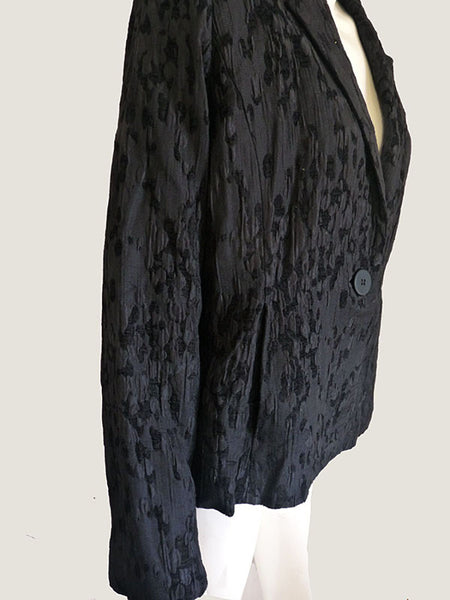 Eileen Fisher Black jacket Chenille dress S 2 Dimensional EUC Color on color