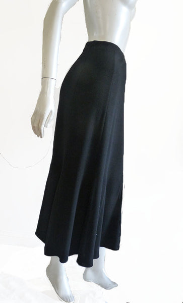 Eileen fisher black skirt Size PM  Petite Gored Maxi Long Wool blend