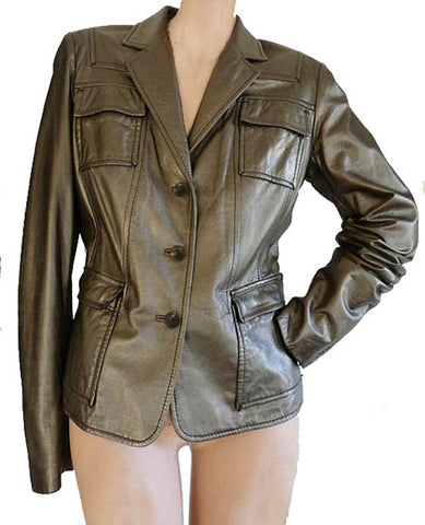 Elie Tahari Leather jacket M bronze/gold Button front Supple Soft
