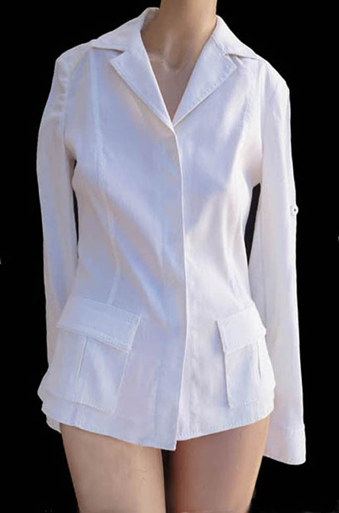 elie tahari white linen top jacjet size S long sleeves