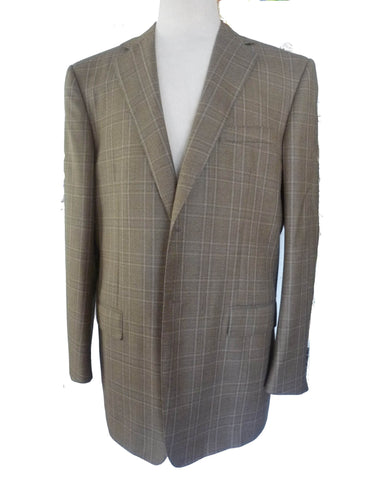Ermenegildo Zegna Sportcoat Blazer 44R Plaid Two button front Tan Heather