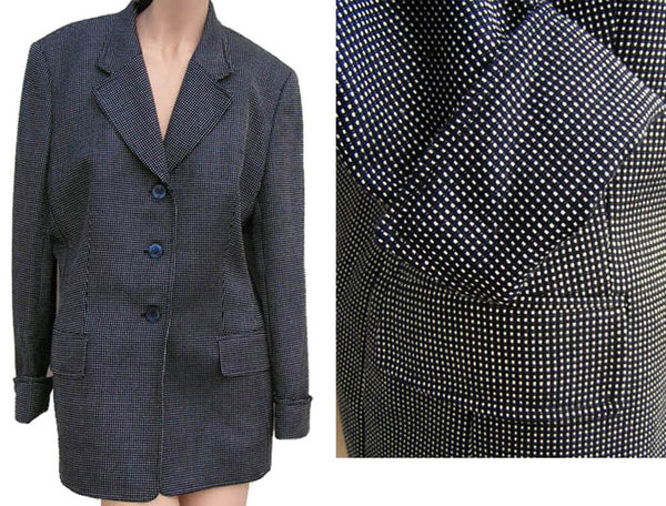 Escada Blazer jacket Exclusive Vintage Neiman Marcus Black White 40 Wool Square Dots Silk Italy
