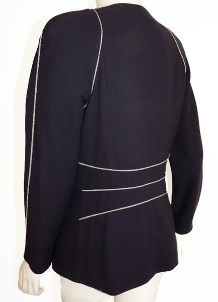 Black white trim jacket Escada Avant Garde Size 5 6 Margaretha Ley Wool LS