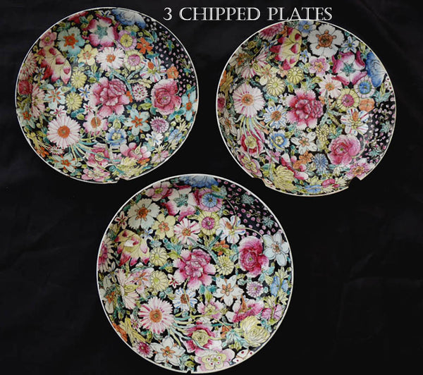 Vintage 20th C Republic period floral Dinnerware Porcelain Plates Mille Fleure Hundred Flowers