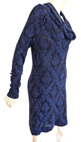 Free People Dress Cowl neck Large Long Sleeves blue print over black Stretchy