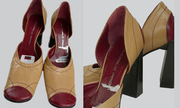 giancarlo heels pumps tan red Sz 5 nordstrom chunky