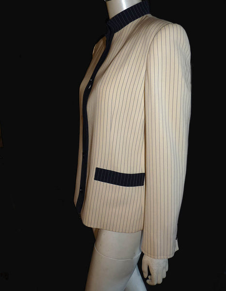 Givenchy Cropped jacket Boutique Blazer M Vintage Cream Black stripe Collar  Swiss made Paris