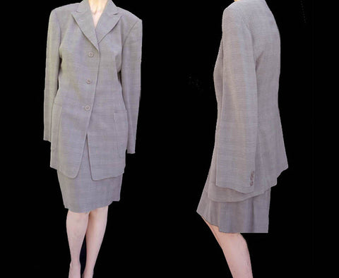 henri bendel light gray skirt suit sz 10