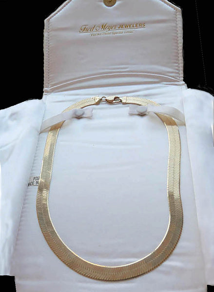 SOLD Herringbone necklace chain 10k yellow gold 35 grams 16 inch