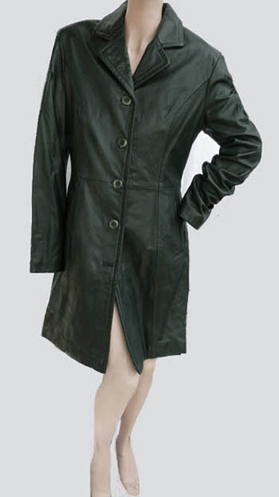 michael hoban leather coat size 9 10 knee length