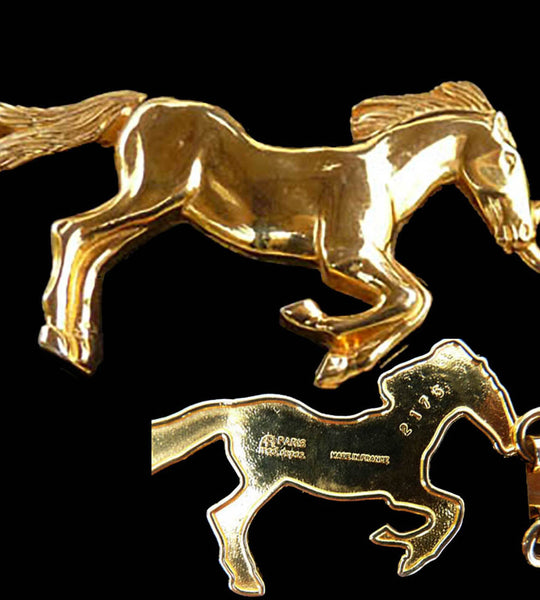 Horse Belt Rare Gold tone metal 7 horses VTG Equestrian Theme Numbered France