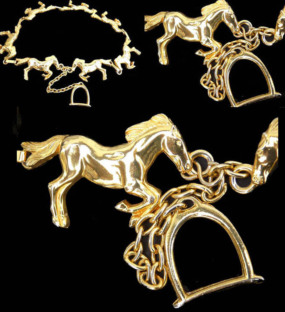 horse belt 7 horses gold tone metal France