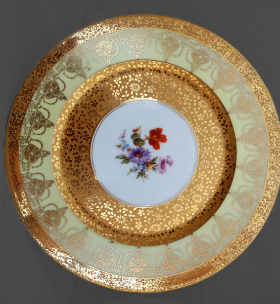 Hutschenreuther Charger Plate Heavy Gold Encrusted Floral center Scroll band Stouffer China