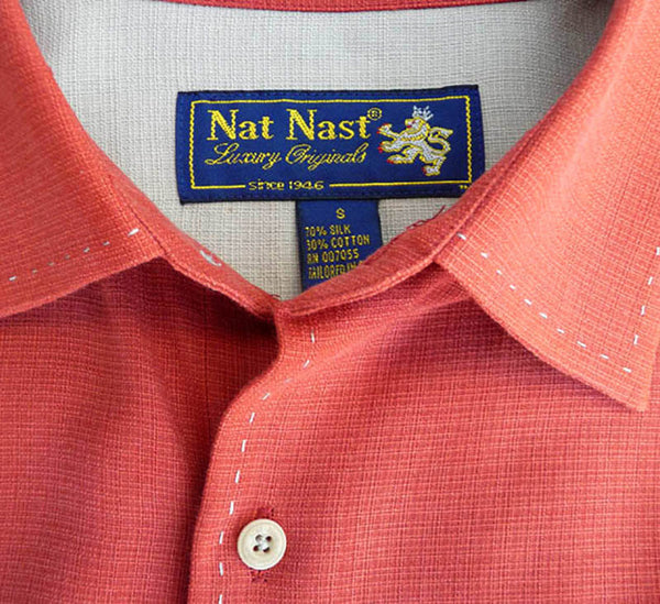 Nat Nast Long sleeve Shirt S Long sleeves Silk & Cotton 17 Burnt orange Rust  Stitching