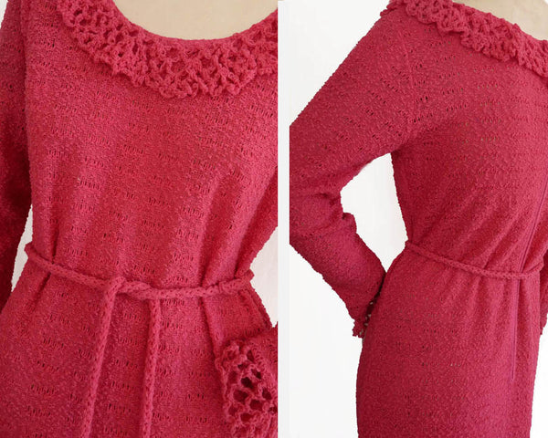 Katrina Custom Knits Crochet Maxi Knit dress Vintage 1980s M Fuchsia