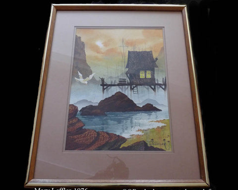 mary leffler seascape painting wood shack gulls
