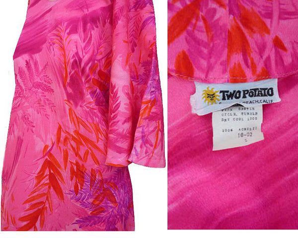 Two Potato Sz 10 Hawaiian Maxi Dress Vintage 1970s Muu Muu Beach Majenta Hot Pink