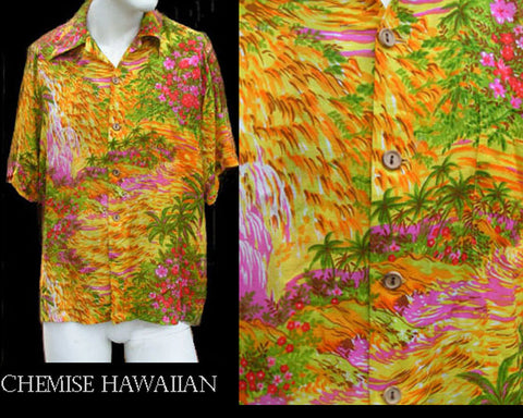 Mens Hawaiian Chemise shirt Aloha SS Abstract print Vintage Mens L  Vibrant colors Silky material Wooden Buttons front