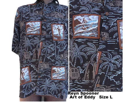 art of eddy hawaiian shirt ss cars button front