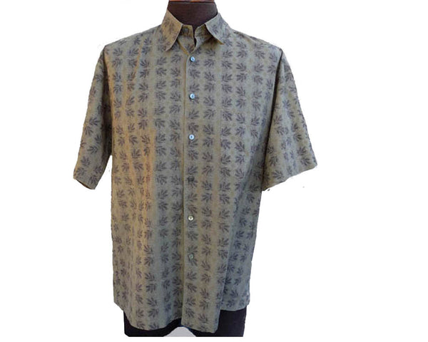 Mens Hawaiian shirt Tori Richard SS shirt Cotton Lawn M  Leaf Print  Sage Taupe beige