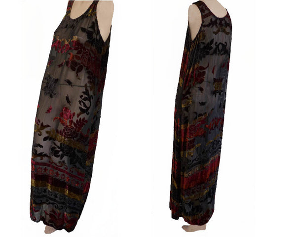 Citron Collection Maxi Dress Velvet burnout Sleeveless Silk Semisheer M Muted colors