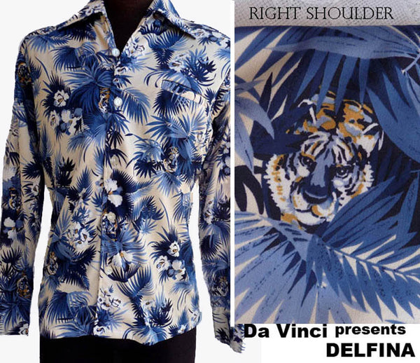 DaVinci Delfina Hawaiian shirtTiger Vintage Aloha LS 70s 80s Tiger Palm Sz M Point Collar